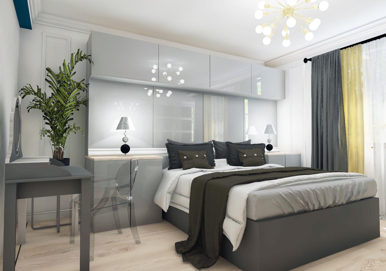 Sypialnia w mieszkaniu w Szczecinie, Pogodno, 2018