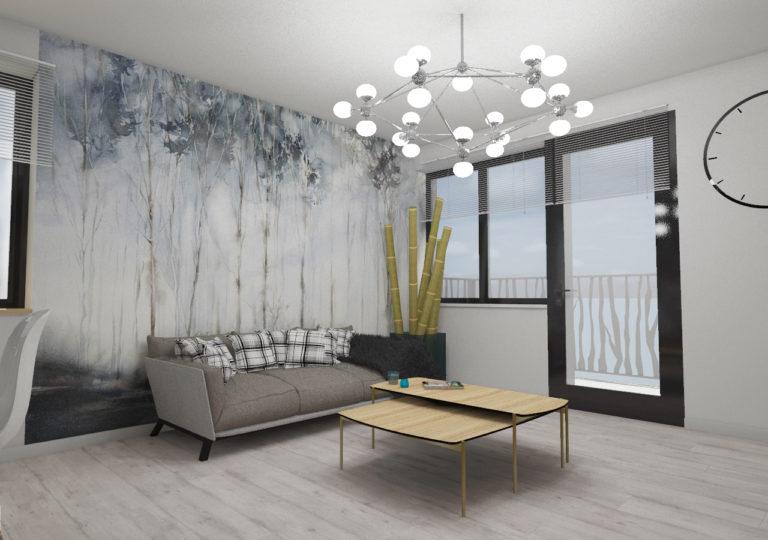 Salon w mieszkaniu w Szczecinie, Kępa Parnicka, 2017